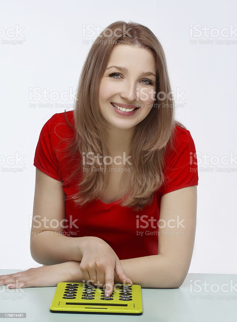 Beautiful young smiling  women  counting royalty-free stock photo