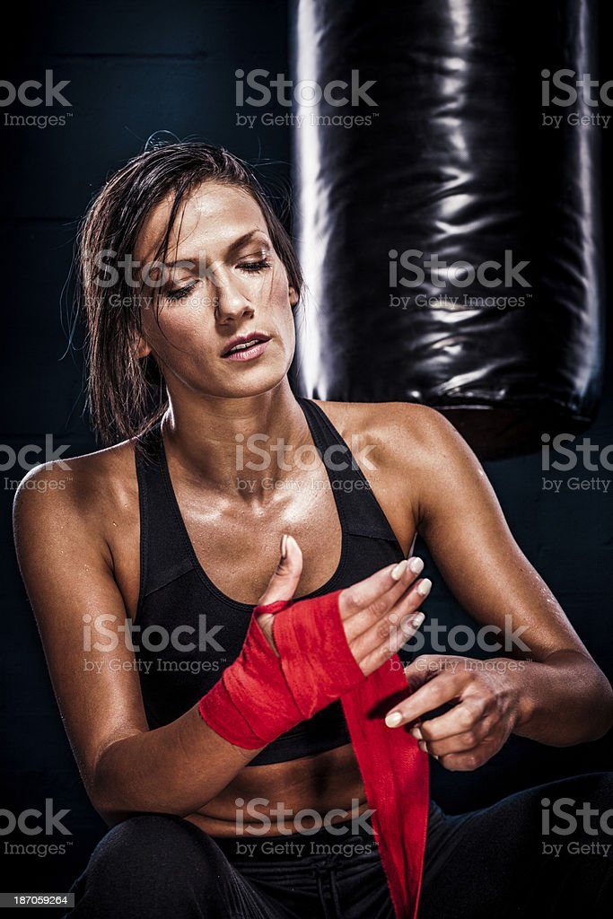 Beautiful young woman after exercising royalty-free stock photo
