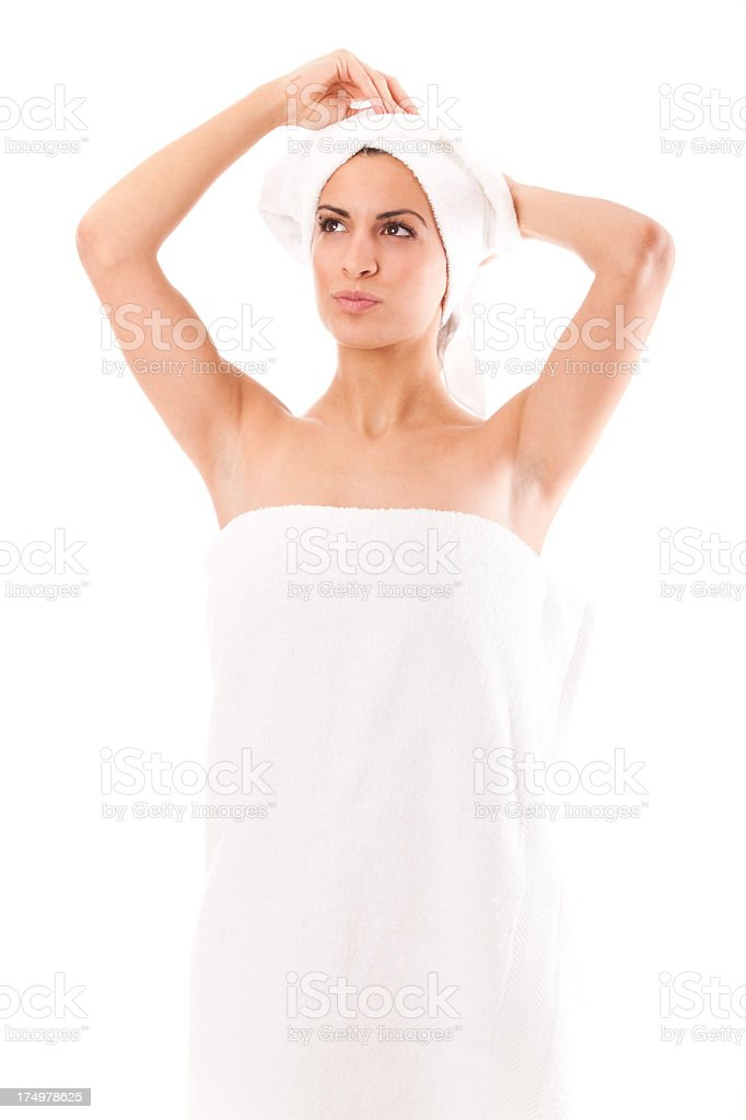 Beautiful young woman after shower isolated on white background royalty-free stock photo