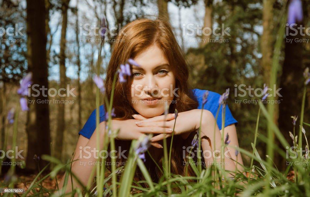 Beautiful young woman amongst the bluebells stock photo