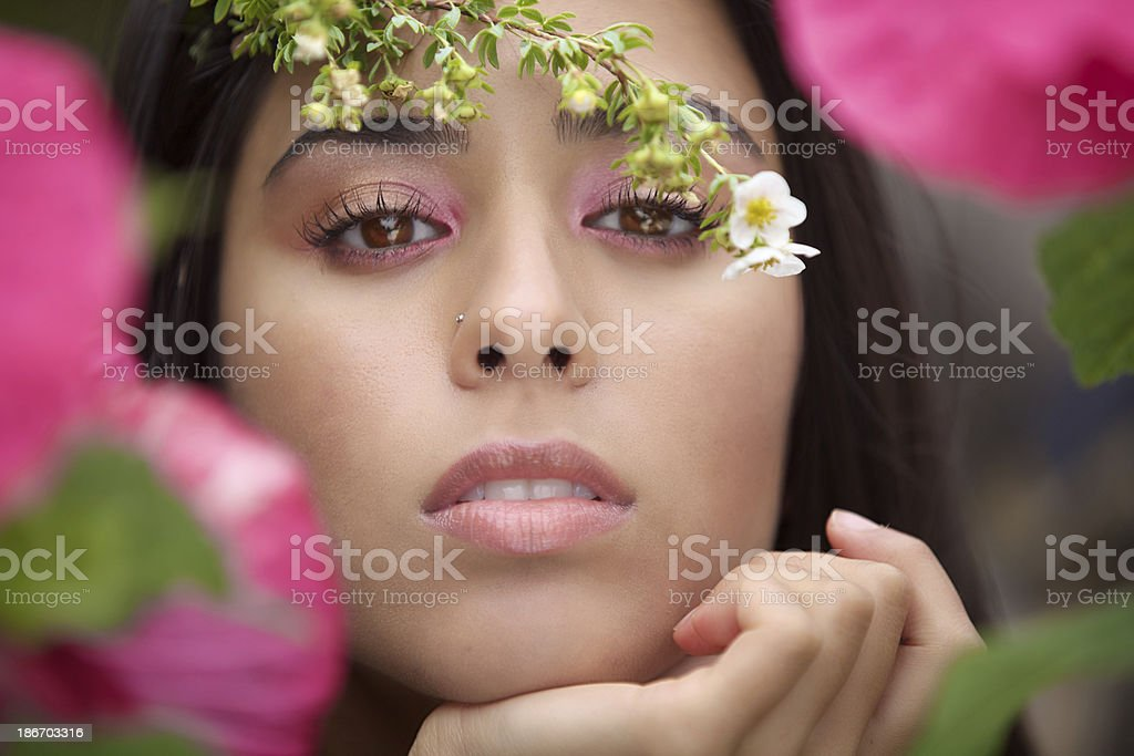 Beautiful Young Woman Around Flower royalty-free stock photo