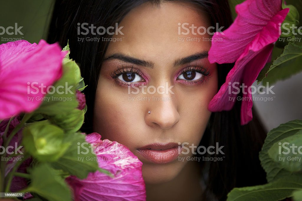 Beautiful Young Woman Around Plant royalty-free stock photo