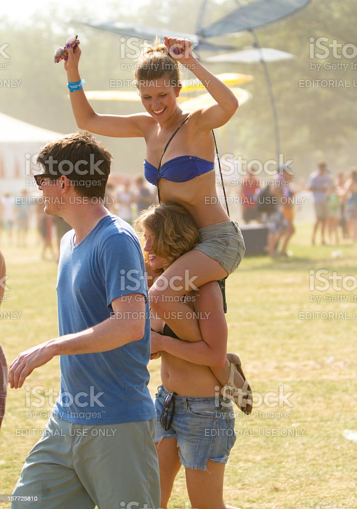 Beautiful young woman at a music festival stock photo