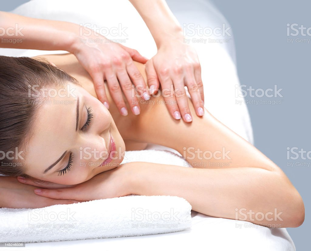 Beautiful young woman at the day spa royalty-free stock photo