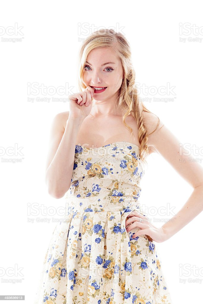 Beautiful young woman biting fingernails royalty-free stock photo