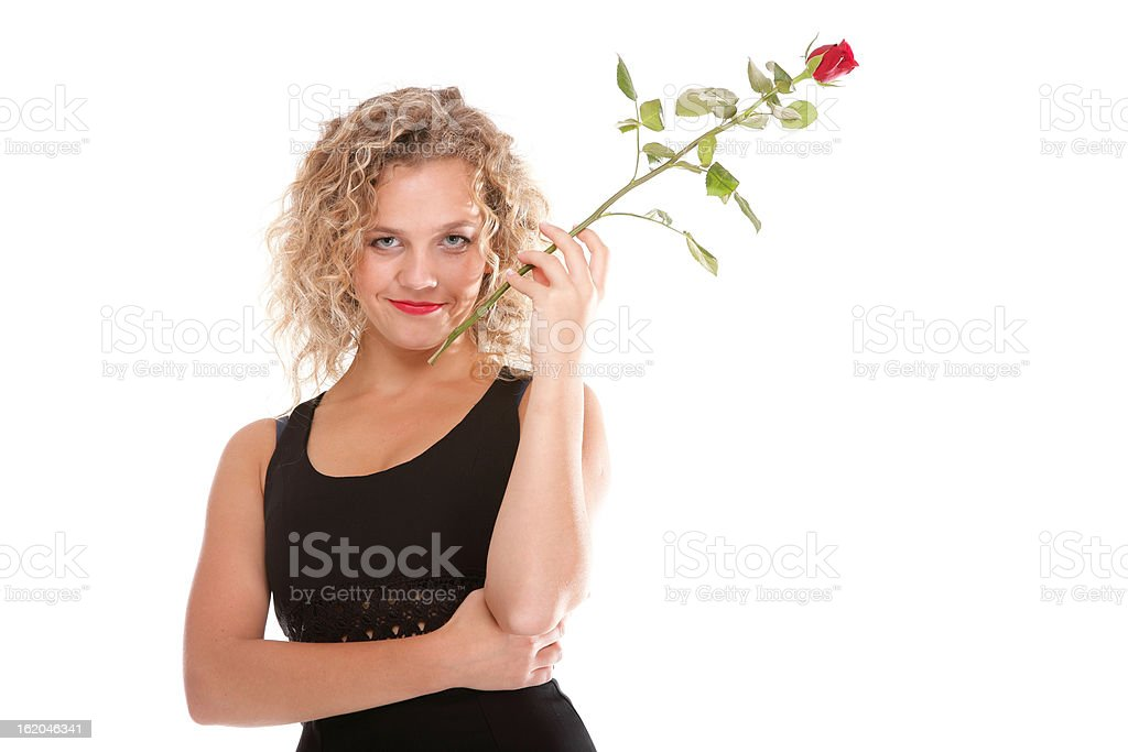Beautiful young woman blonde romantic rose royalty-free stock photo