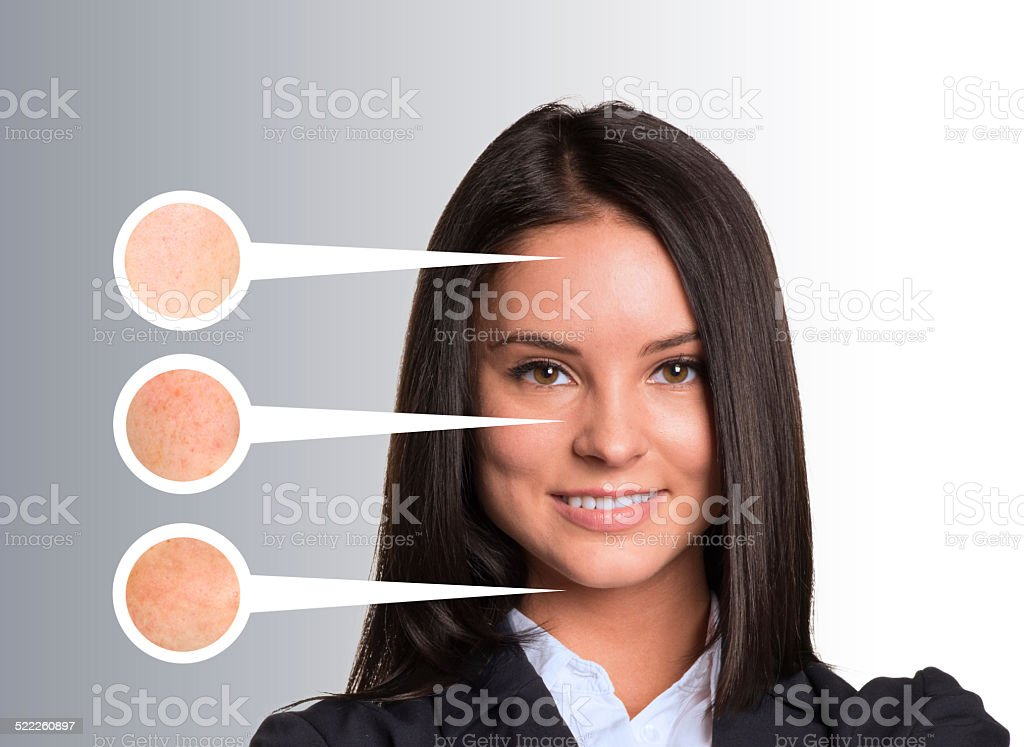 Beautiful young woman. Callouts with zoom portions of skin stock photo
