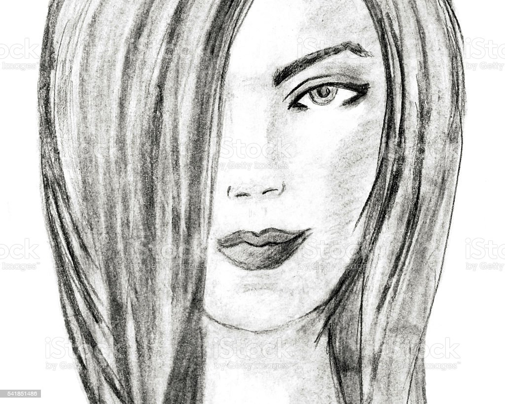 Beautiful young woman, charcoal drawing. Fashion illustration. Charcoal Sketch stock photo