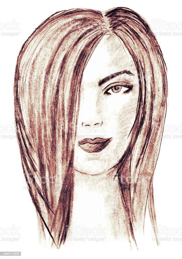 Beautiful young woman, charcoal drawing. Fashion illustration. stock photo