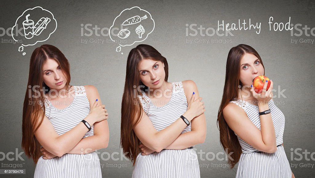 Beautiful young woman choose healthy food, diet concept stock photo