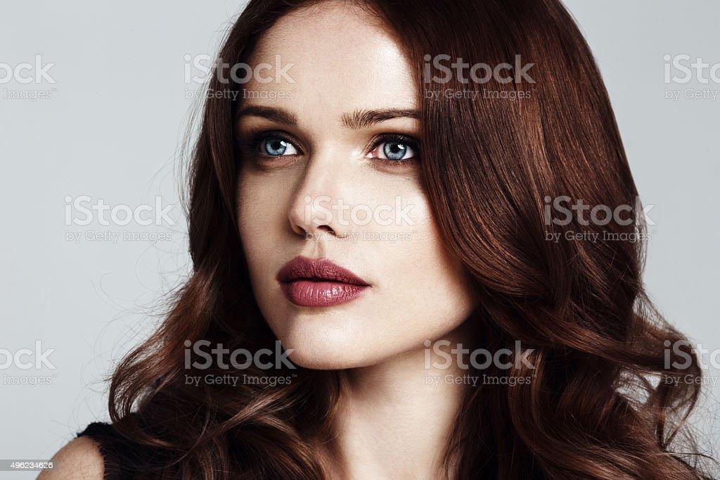 beautiful young woman close-up portrait stock photo