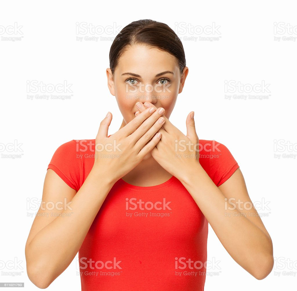 Beautiful Young Woman Covering Mouth stock photo