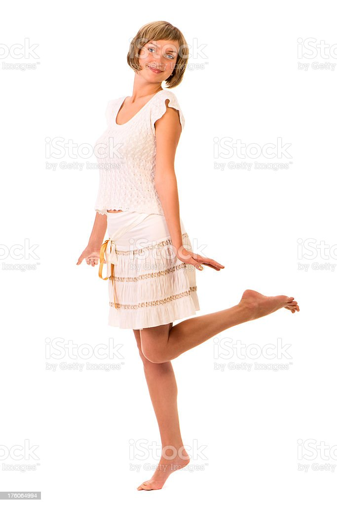 Beautiful young woman dancing stock photo