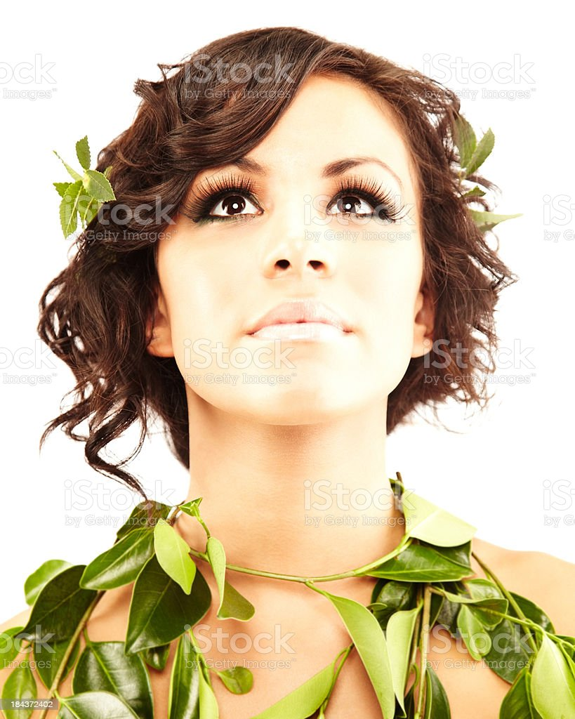 Beautiful young woman draped in grape leaves royalty-free stock photo