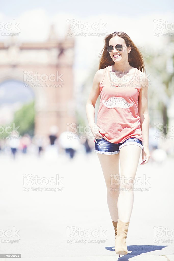 Beautiful young woman enjoying Barcelona stock photo
