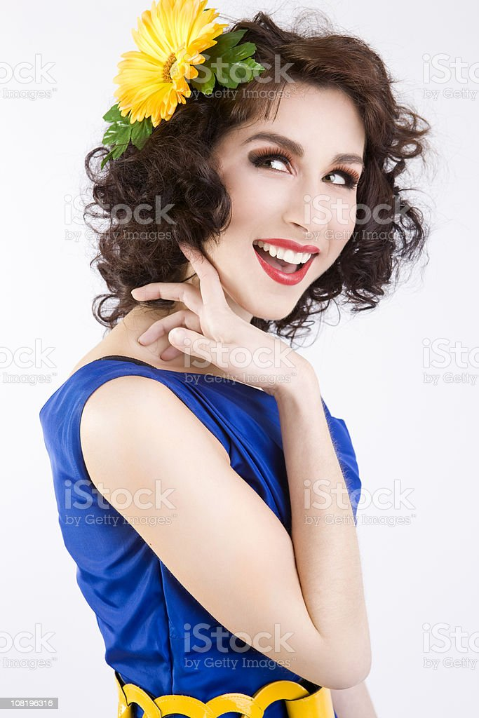 Beautiful Young Woman Fashion Model on White, Spring Dress, Makeup royalty-free stock photo