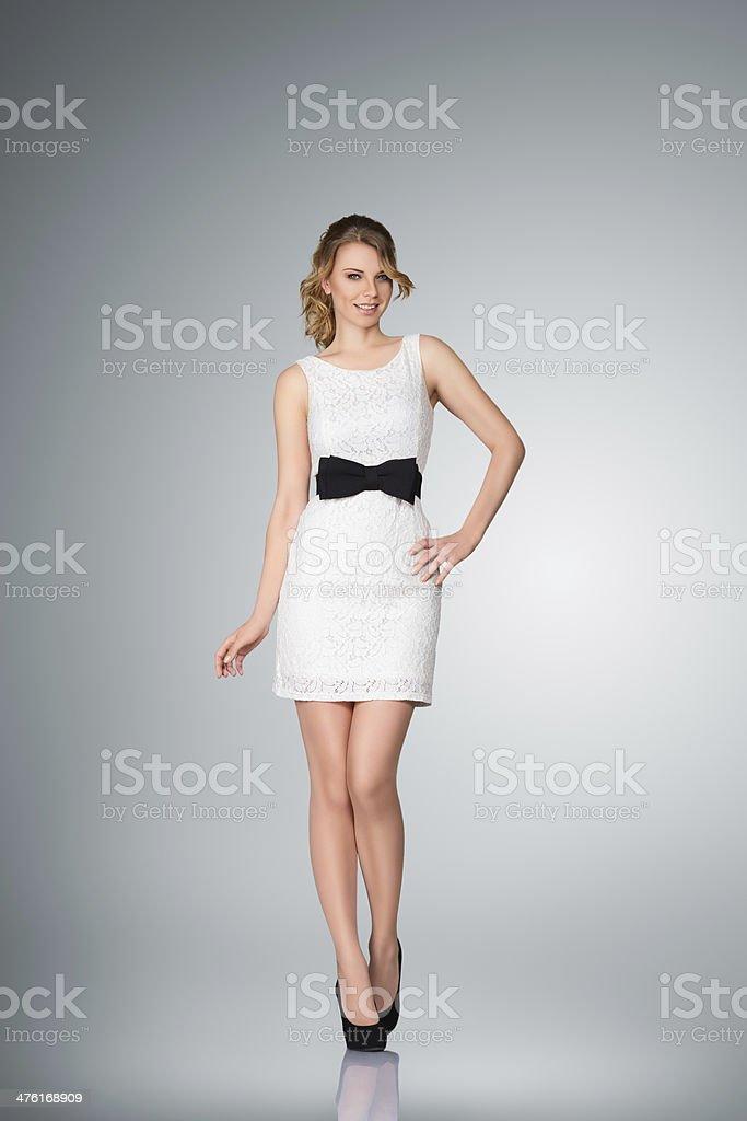 Beautiful young woman full body portrait stock photo