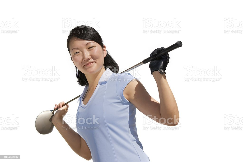 Beautiful young woman golf portrait royalty-free stock photo