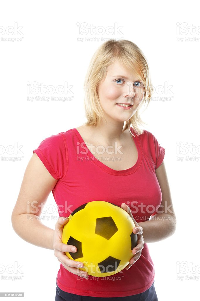Beautiful Young Woman Holding A Ball royalty-free stock photo