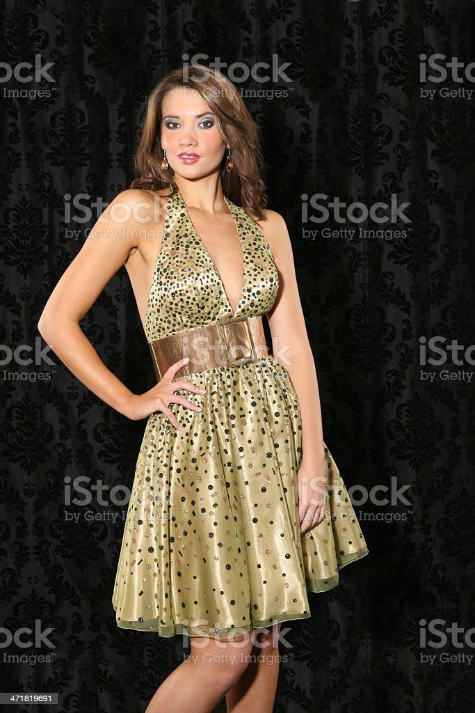Beautiful young woman in a gold dress royalty-free stock photo