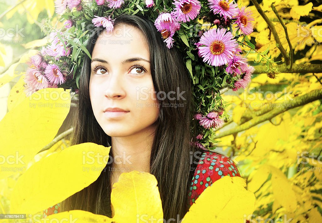 Beautiful young woman in autumn royalty-free stock photo