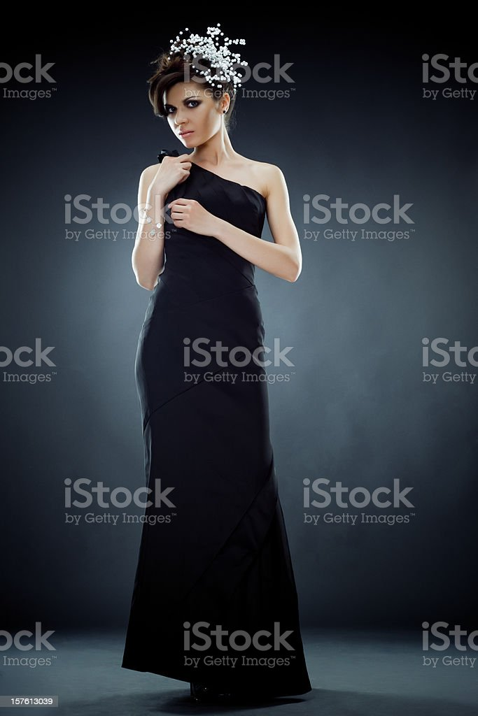 Beautiful Young Woman in Black dress Studio portrait royalty-free stock photo