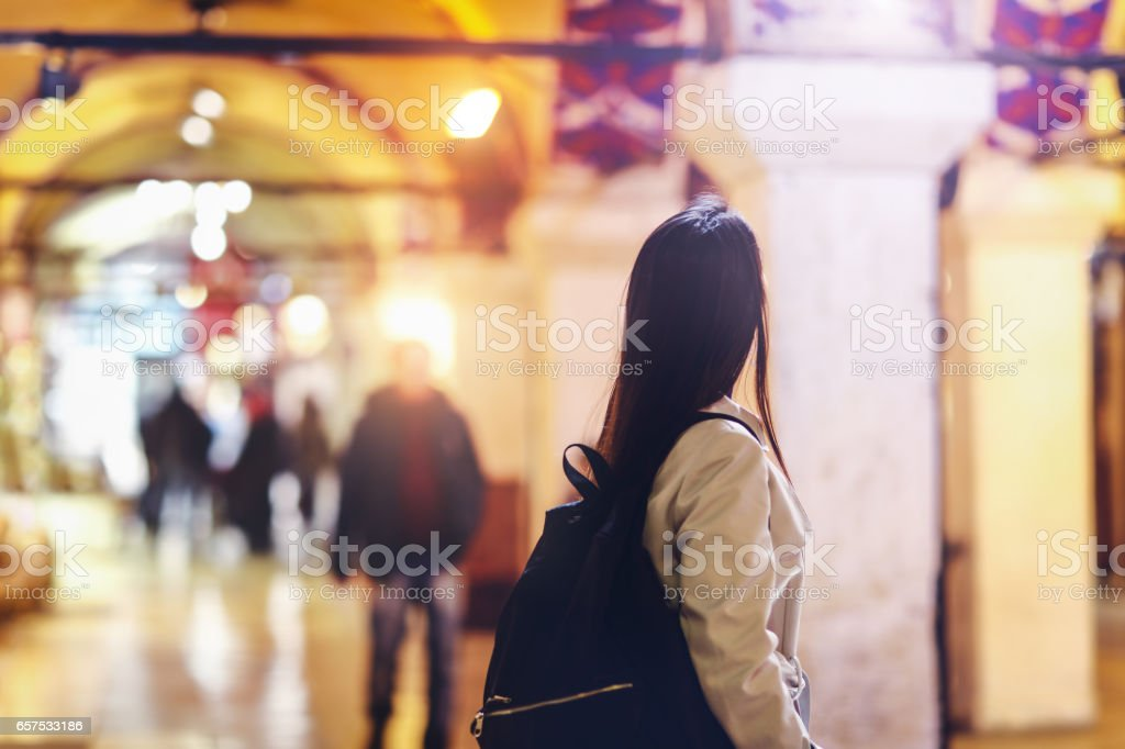 Beautiful young woman in Grand Bazaar, Istanbul, Turkey stock photo