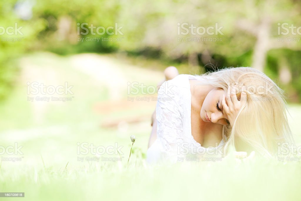 Beautiful young woman in nature royalty-free stock photo
