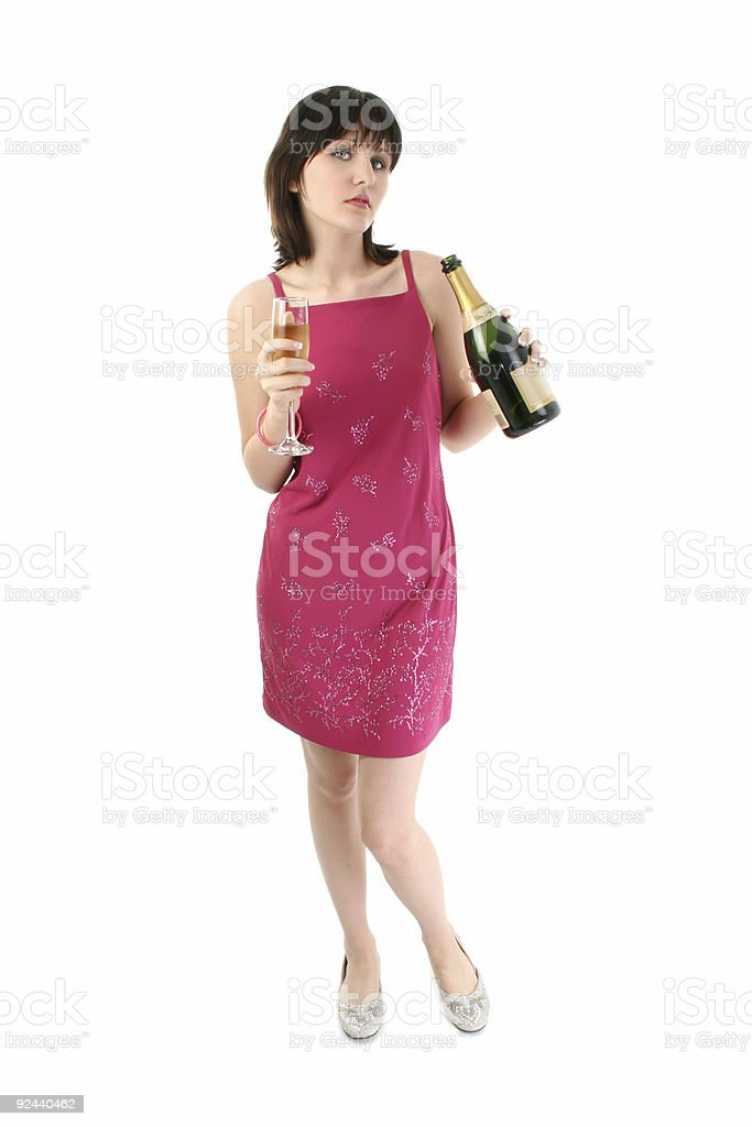 Beautiful Young Woman in Party Dress with Champagne royalty-free stock photo