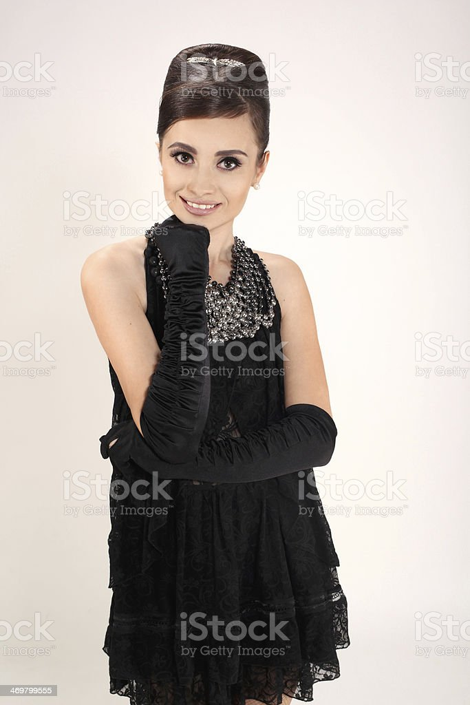 beautiful young woman in retro style royalty-free stock photo