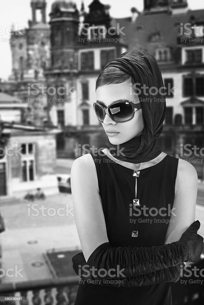 beautiful young woman in retro style stock photo