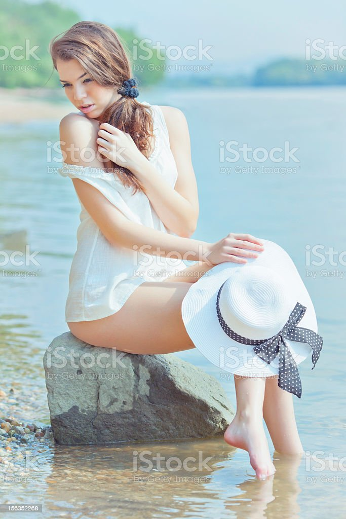 beautiful young woman in riverpank royalty-free stock photo