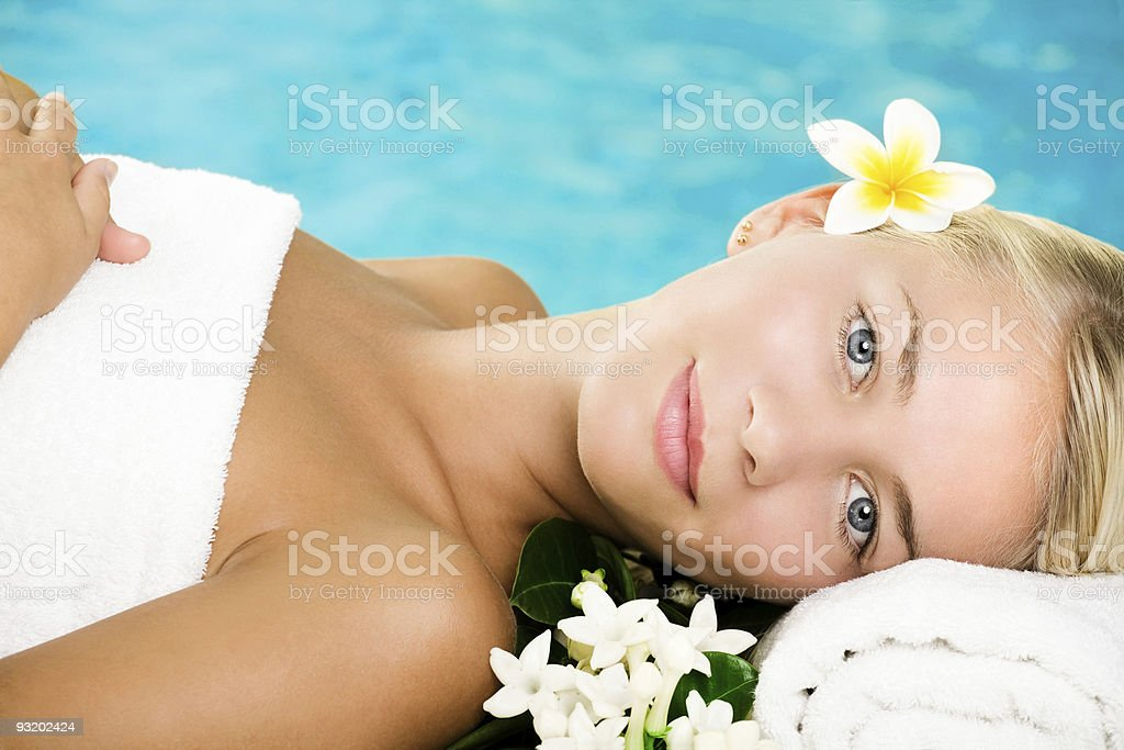 Beautiful young woman in spa royalty-free stock photo