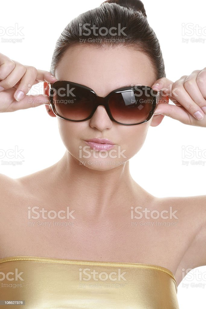 Beautiful young woman in sunglasses stock photo