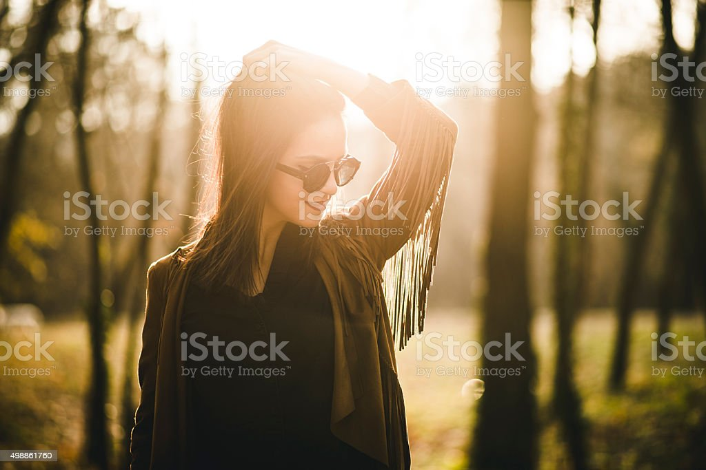 Beautiful young woman in the nature day stock photo