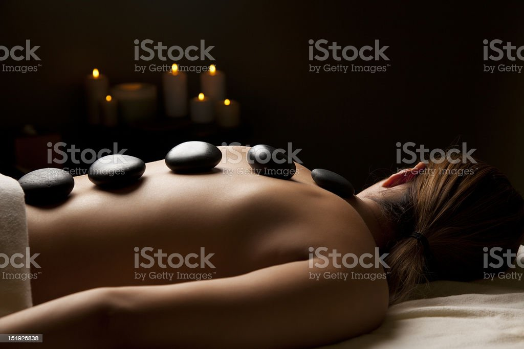 Beautiful young woman in the spa stock photo