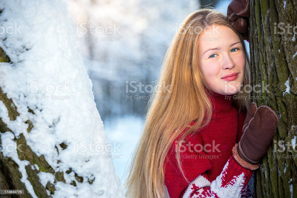 Beautiful young woman in winter wood royalty-free stock photo