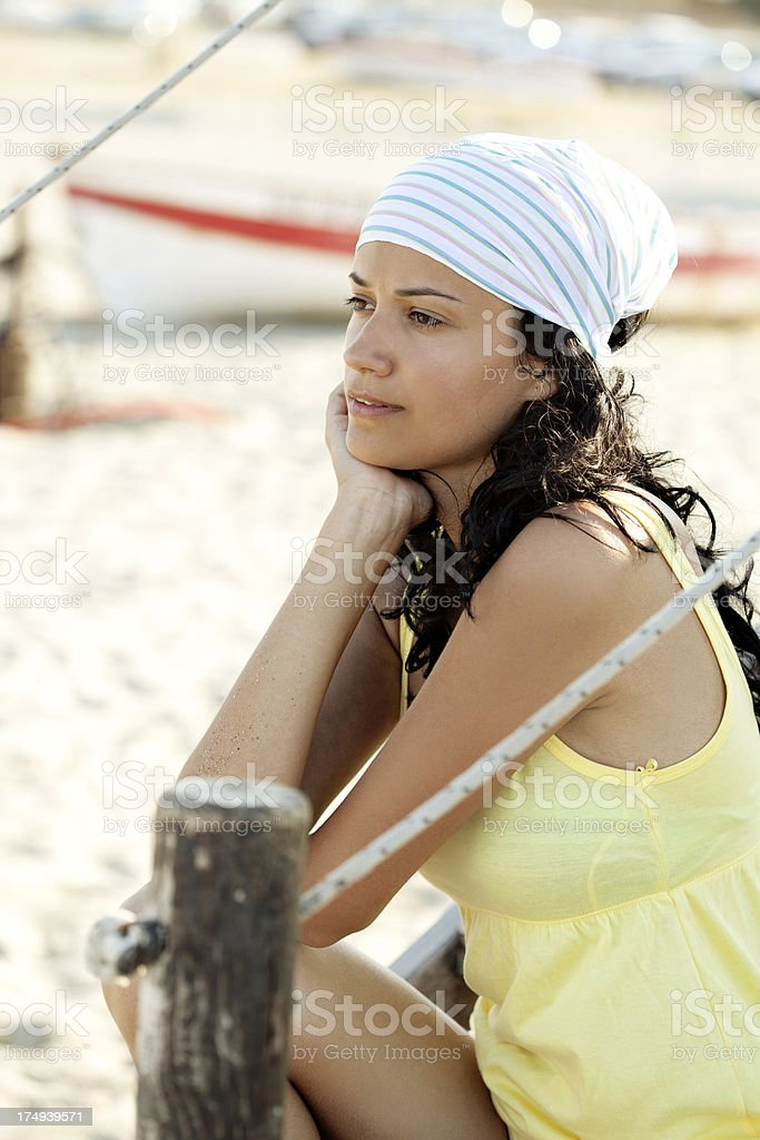beautiful young woman looking away royalty-free stock photo