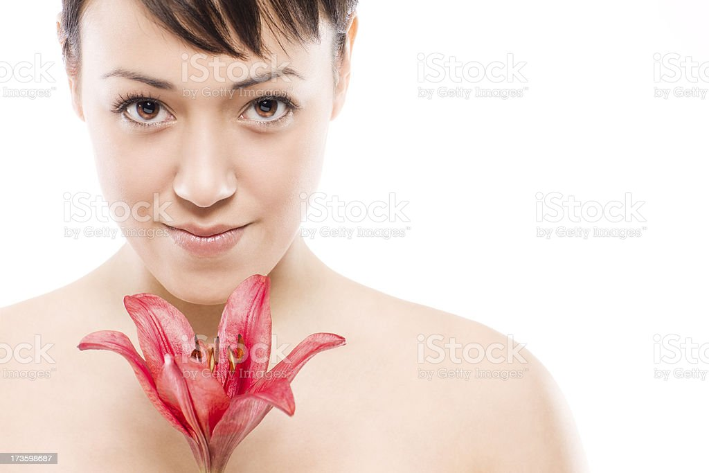 Beautiful Young Woman Natural Beauty Model on White with Flower royalty-free stock photo