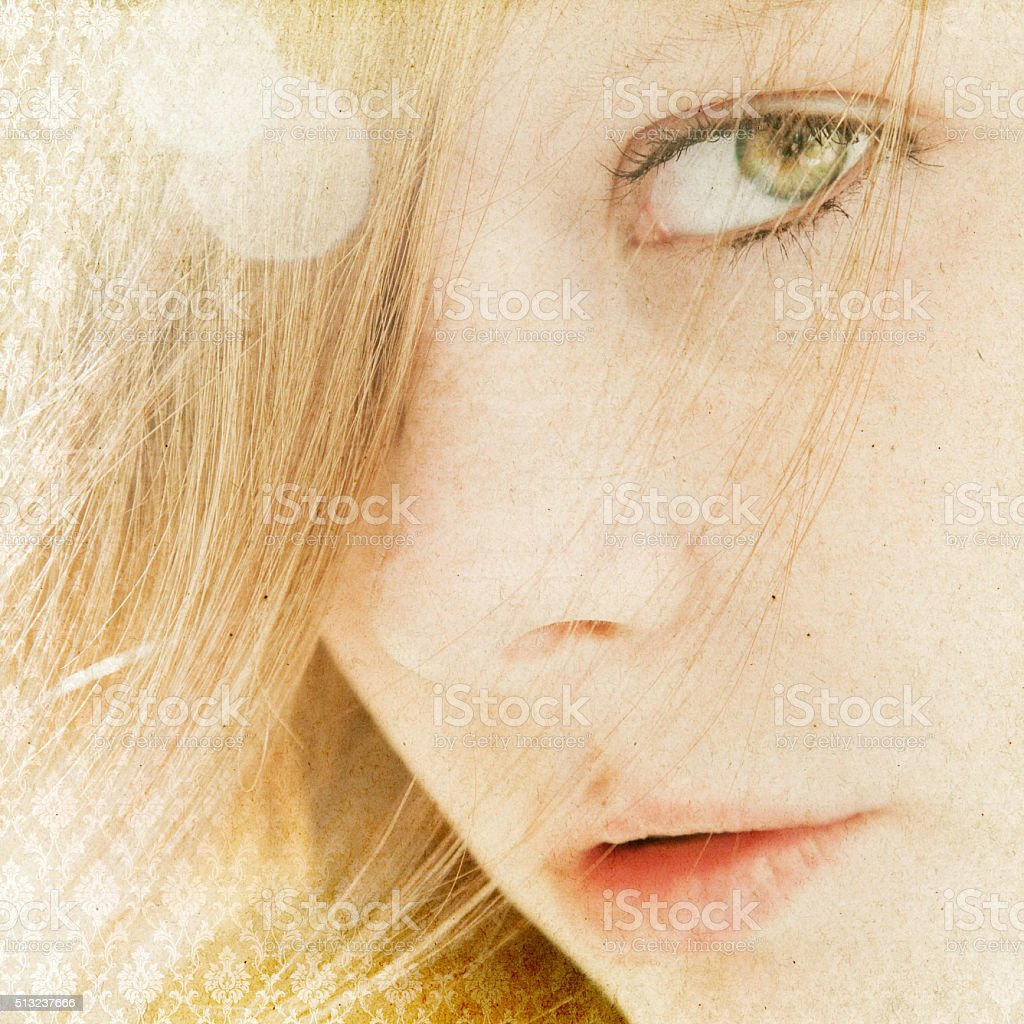 beautiful young woman, natural look, face with freckles stock photo