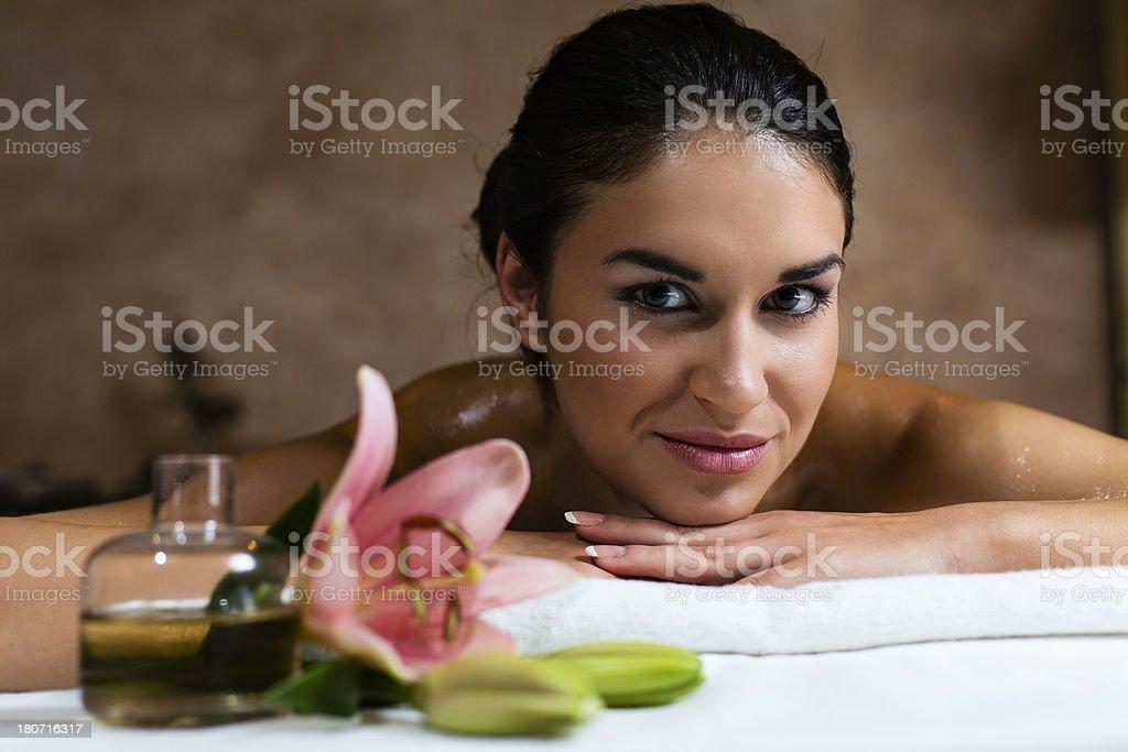 Beautiful young woman on massage royalty-free stock photo