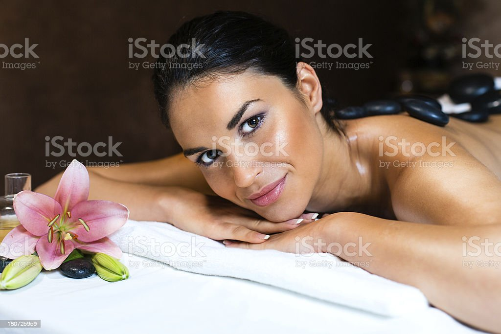 Beautiful young woman on massage royalty-free stock photo