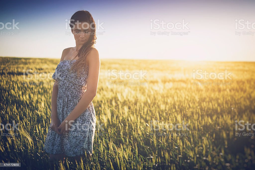 Beautiful young woman on the spring wheat field stock photo