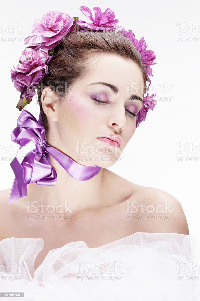 Beautiful Young Woman  on White Background royalty-free stock photo