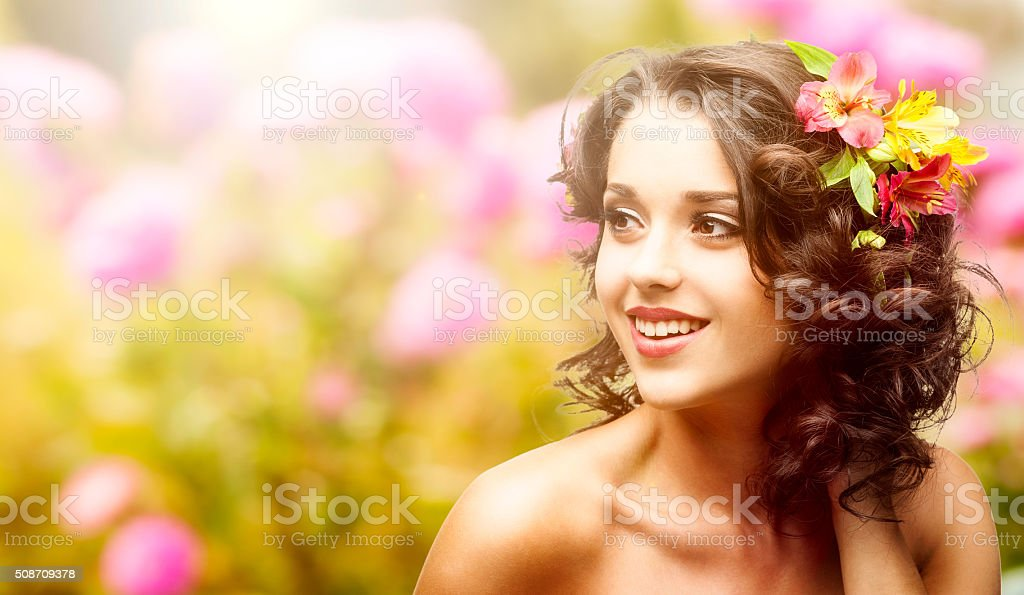 beautiful young woman over autumn background stock photo