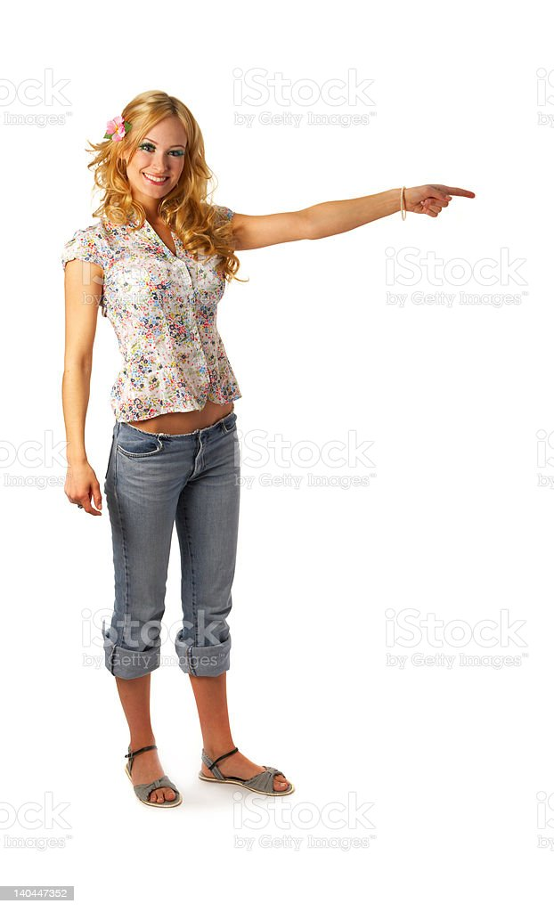 Beautiful young woman pointing royalty-free stock photo