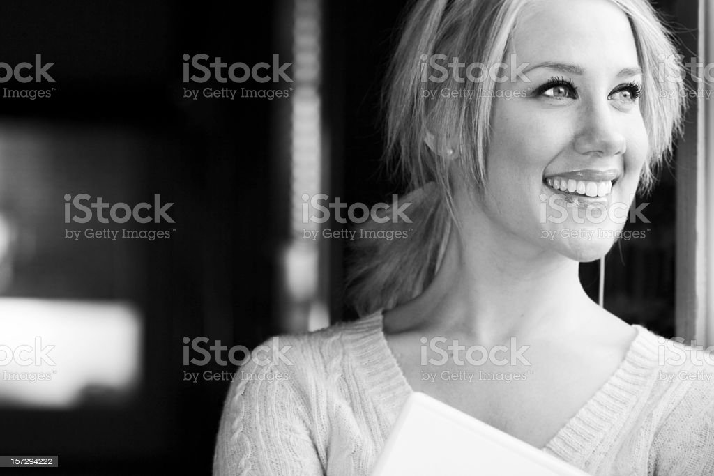 Beautiful Young Woman Portrait, Copy Space, Black and White royalty-free stock photo