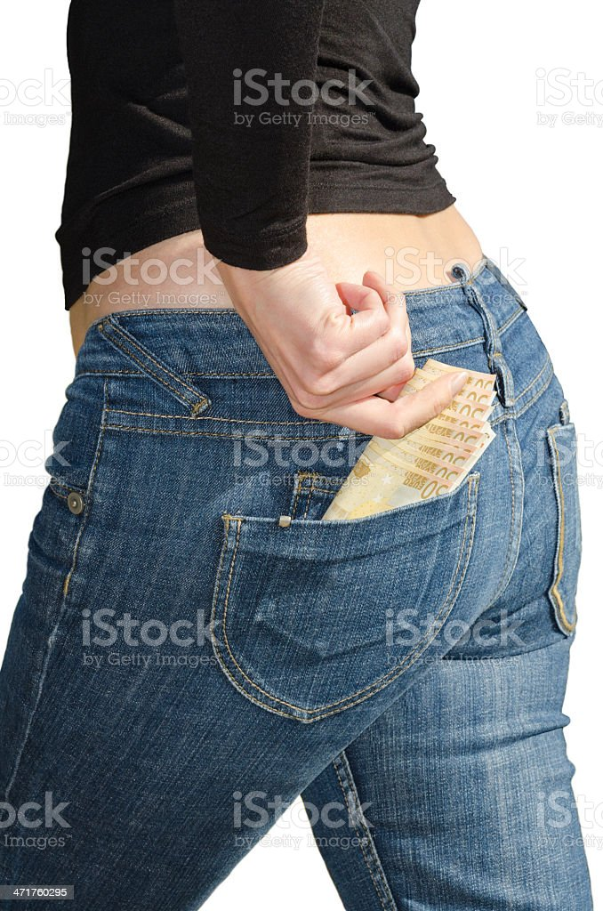Beautiful young woman pulls out euro isolated stock photo