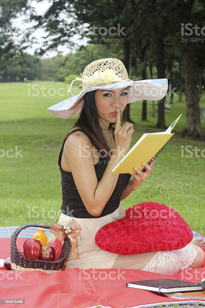 beautiful young woman reading book royalty-free stock photo