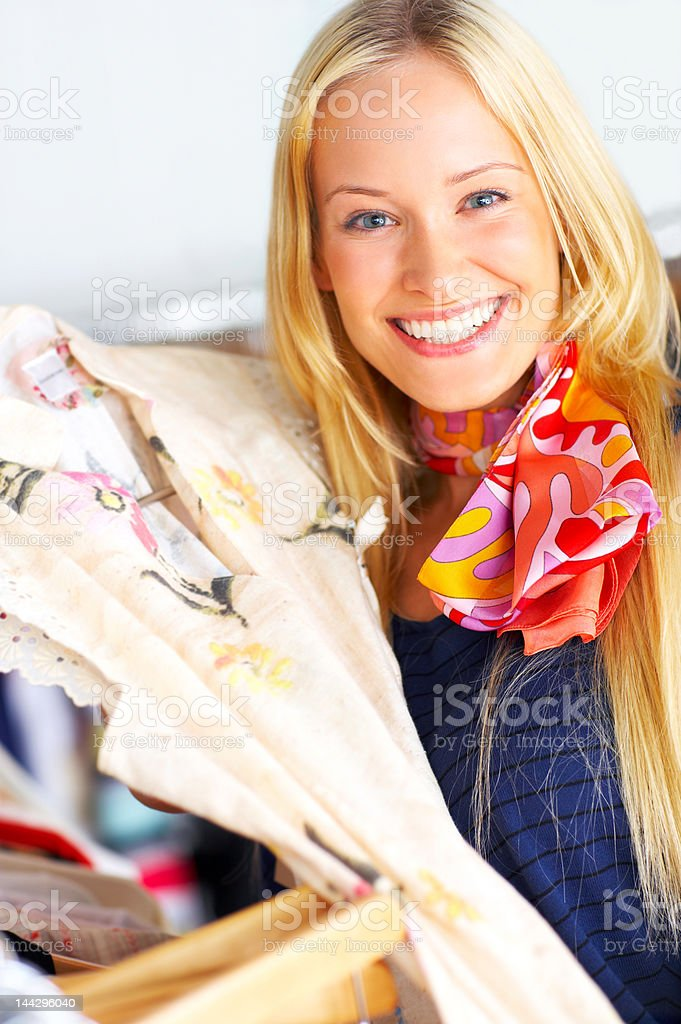 Beautiful young woman shopping clothes royalty-free stock photo
